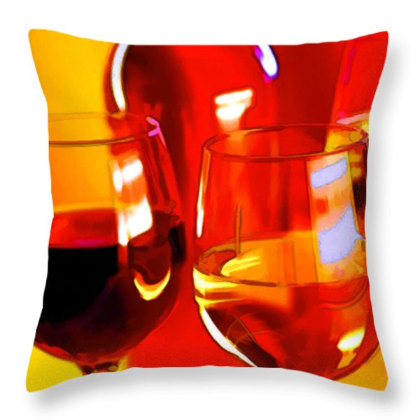 Abstract Bottle Of Wine And Glasses Of Red And White Throw Pillow by Elaine Plesser