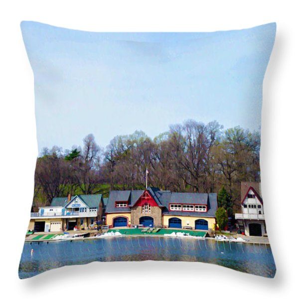 Across From Boathouse Row - Philadelphia Throw Pillow by Bill Cannon