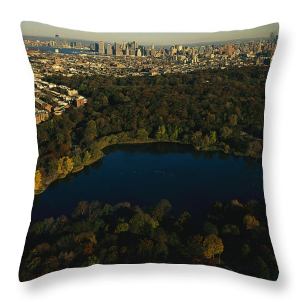 Aerial Of Prospect Park Throw Pillow by Melissa Farlow