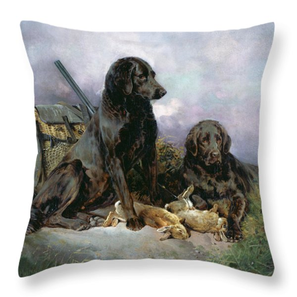 After The Shoot Throw Pillow by William Woodhouse