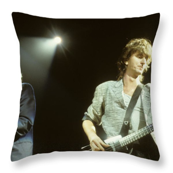 Alex Lifeson And Geddy Lee Throw Pillow by Rich Fuscia