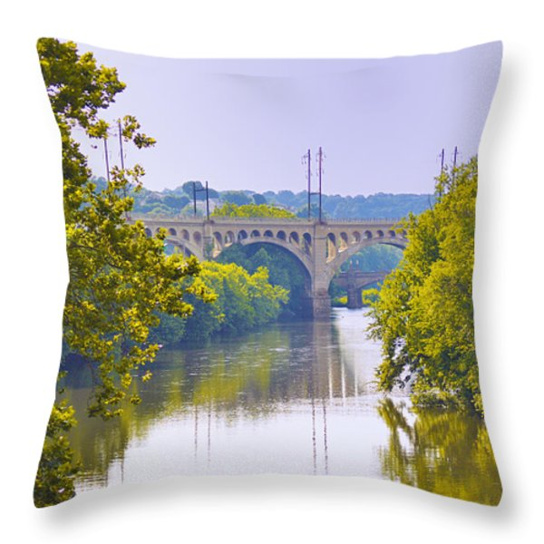 Along The Schuylkill River In Manayunk Throw Pillow by Bill Cannon