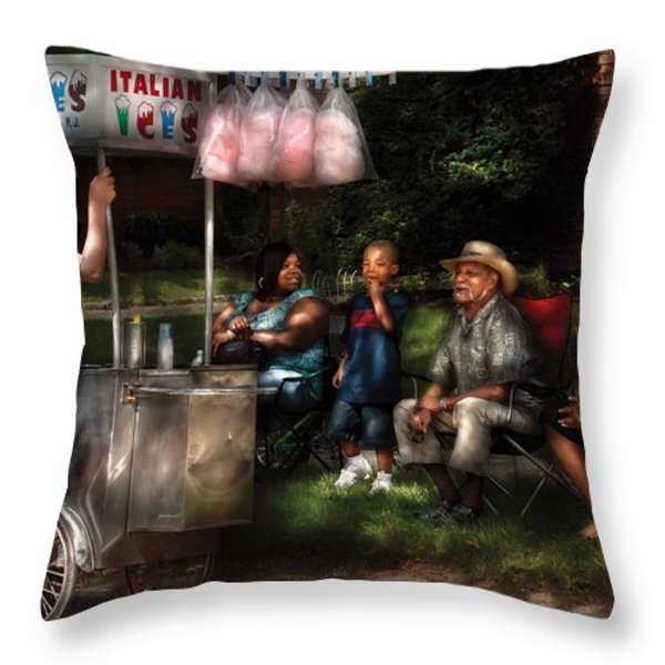 Americana - People - Buying Treats Throw Pillow by Mike Savad