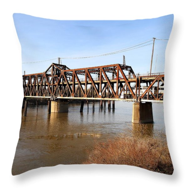 Amtrak California Crossing The Old Sacramento Southern Pacific Train Bridge . 7d11674 Throw Pillow by Wingsdomain Art and Photography