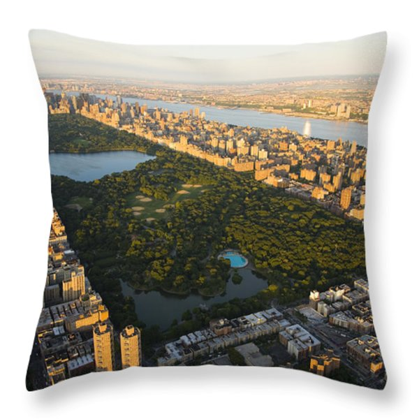 An Aerial View Of Central Park Throw Pillow by Michael S. Yamashita