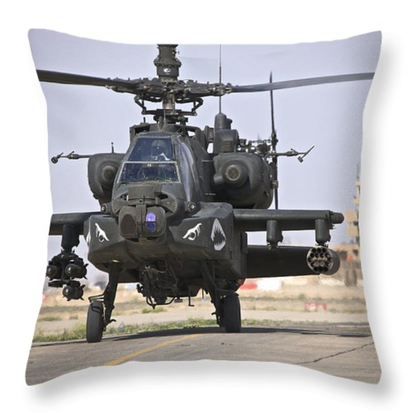 An Ah-64 Apache Helicopter Returns Throw Pillow by Terry Moore