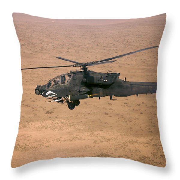 An Ah-64d Apache Longbow Fires A Hydra Throw Pillow by Terry Moore