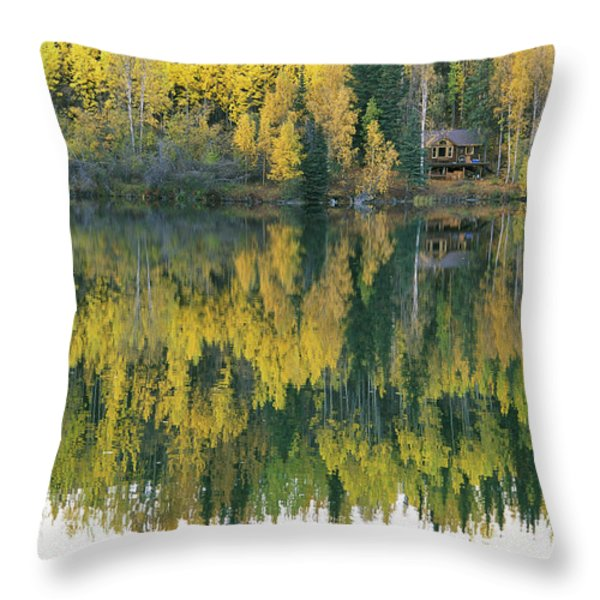 An Autumn View Of A Cabin Reflected Throw Pillow by Rich Reid