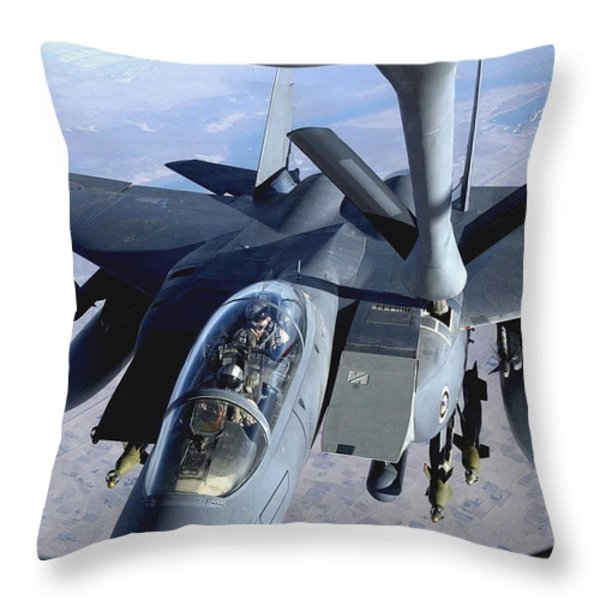 An F-15e Strike Eagle Refuels Over Iraq Throw Pillow by Stocktrek Images