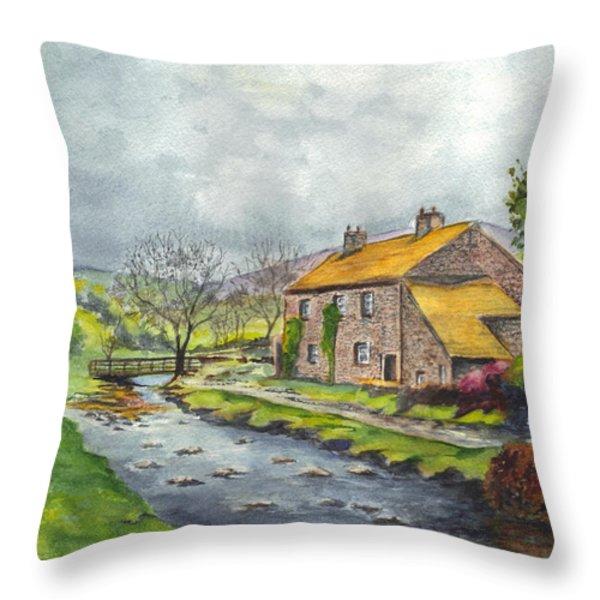 An Old Stone Cottage In Great Britain Throw Pillow by Carol Wisniewski