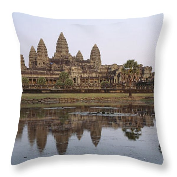Angkor Wat, A Buddhist Temple Throw Pillow by Justin Guariglia