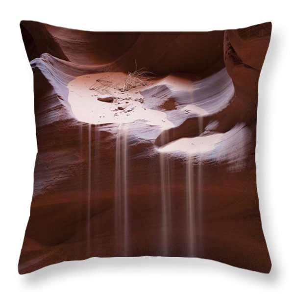 Antelope Canyon Sand Stream Throw Pillow by Sandra Bronstein