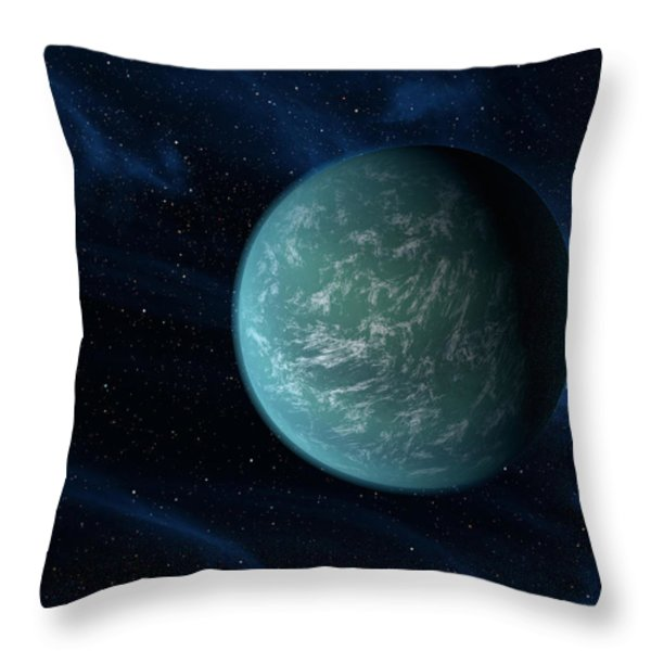 Artists Concept Of Kepler 22b, An Throw Pillow by Stocktrek Images