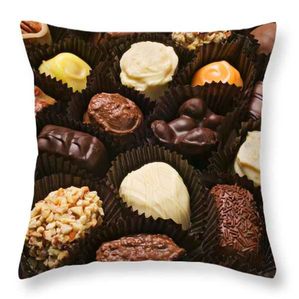 Assorted Candy Throw Pillow by Garry Gay