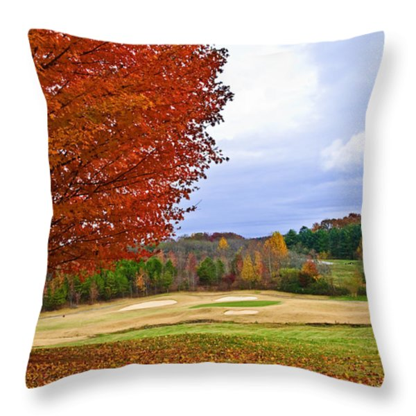 Autumn On The Golf Course Throw Pillow by Susan Leggett