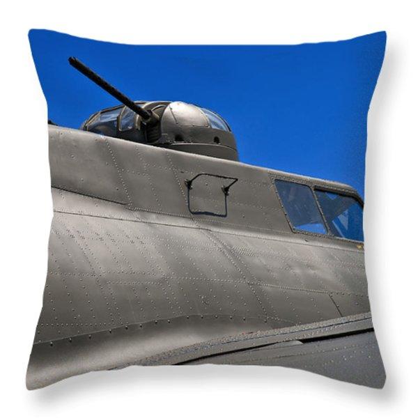 B-17 Top Guns Throw Pillow by Murray Bloom