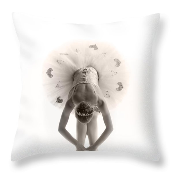 Ballerina Bent Throw Pillow by Steve Williams