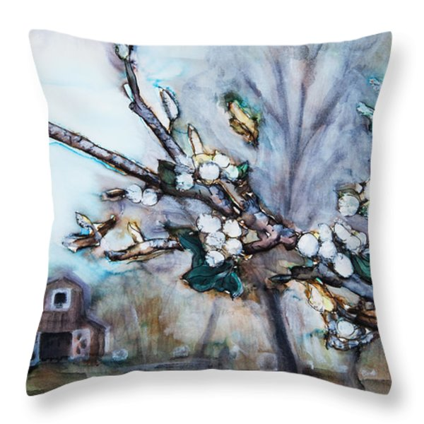 Barn And Blossoms Throw Pillow by Tara Thelen