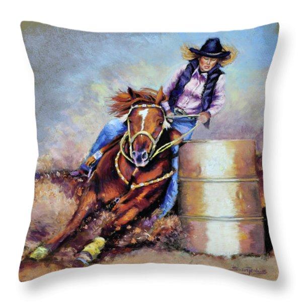 Barrel Rider Throw Pillow by Susan Jenkins