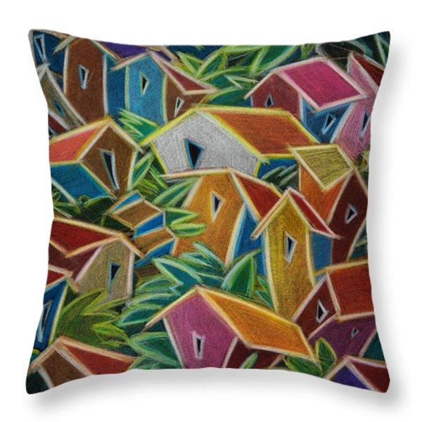 Barrio Lindo Throw Pillow by Oscar Ortiz