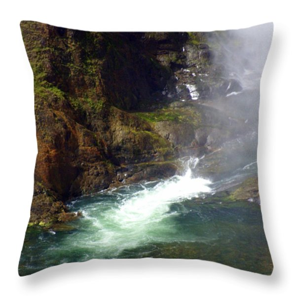 Base Of The Falls 1 Throw Pillow by Marty Koch
