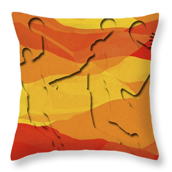 Basketball Players Abstract Throw Pillow by David G Paul