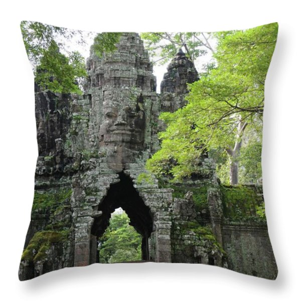 Bayon Gate Throw Pillow by Marion Galt
