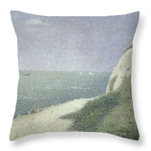 Beach At Bas Butin Throw Pillow by Georges Pierre Seurat