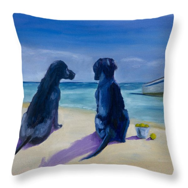 Beach Girls Throw Pillow by Roger Wedegis