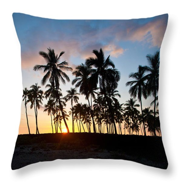 Beach Sunset Throw Pillow by Mike Reid