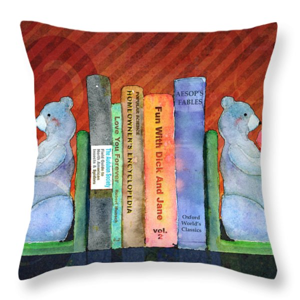 Bear Bookends Throw Pillow by Arline Wagner