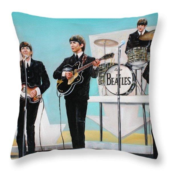Beatles On Ed Sullivan Throw Pillow by Leland Castro