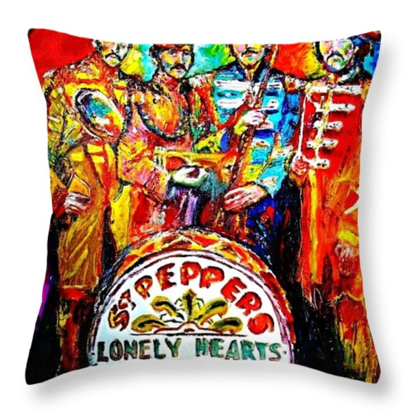 Beatles Sgt. Pepper Throw Pillow by Leland Castro