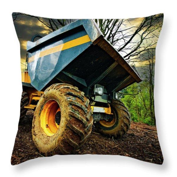 Big Bad Dumper Truck Throw Pillow by Meirion Matthias