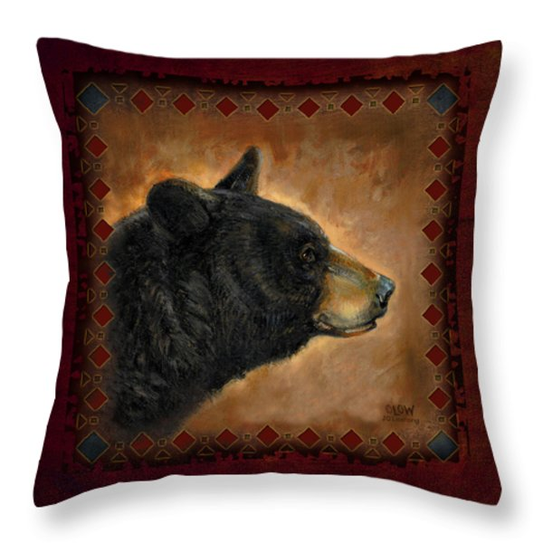 Black Bear Lodge Throw Pillow by JQ Licensing