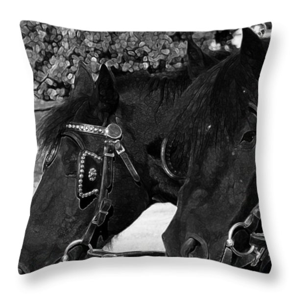 Black Beauties Throw Pillow by Stuart Turnbull