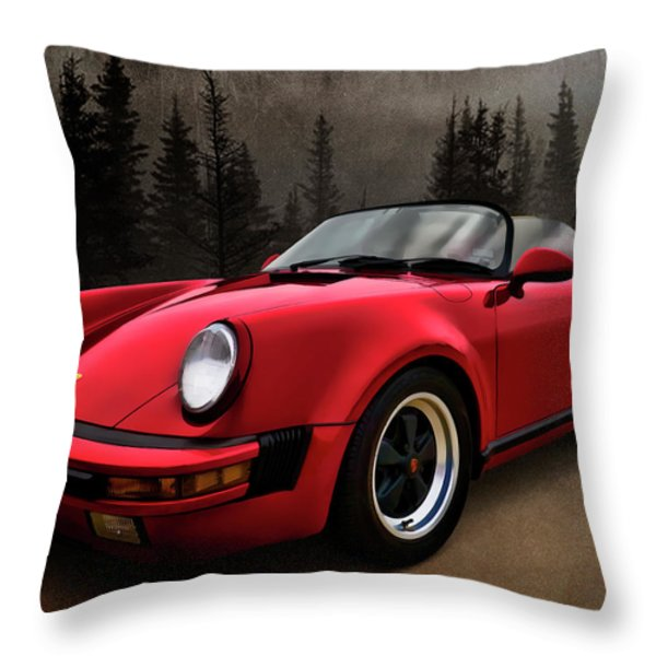 Black Forest - Red Speedster Throw Pillow by Douglas Pittman
