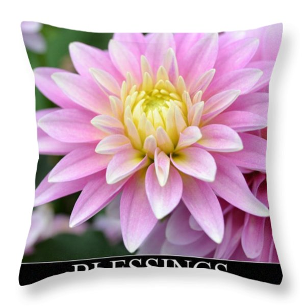 Blessings Dahlia Throw Pillow by Patricia S