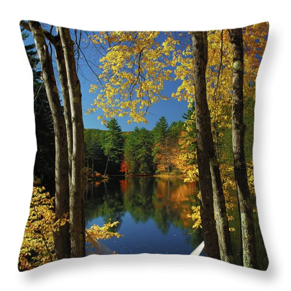 Bliss - New England Fall Landscape Hammock Throw Pillow by Jon Holiday