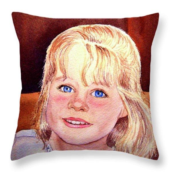 Blue Blue Eyes Throw Pillow by Irina Sztukowski