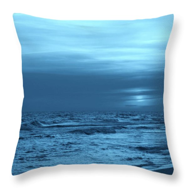 Blue Evening Throw Pillow by Sandy Keeton