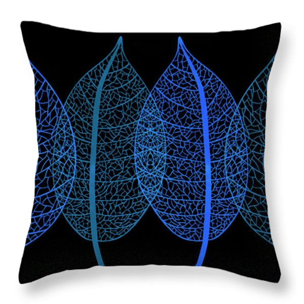 Throw Pillow featuring the painting Blue Leaves by Frank Tschakert