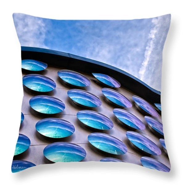 Blue Polka-dot Wave Throw Pillow by Christopher Holmes