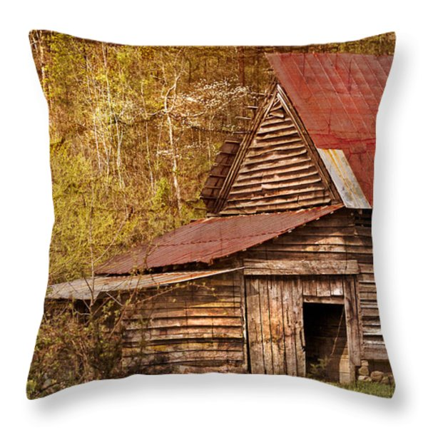 Blue Ridge Mountain Barn Throw Pillow by Debra and Dave Vanderlaan