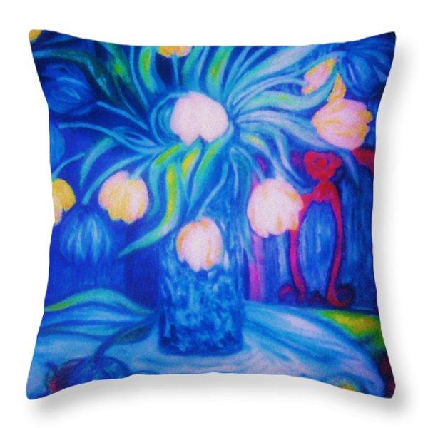 Blue Tulips      Art Deco Throw Pillow by Gunter  Hortz