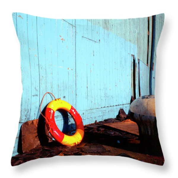 Blue Yellow And Red Throw Pillow by Peter OReilly
