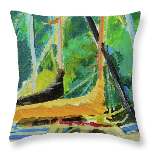Boats Docked In The Morning Throw Pillow by Margaret  Plumb