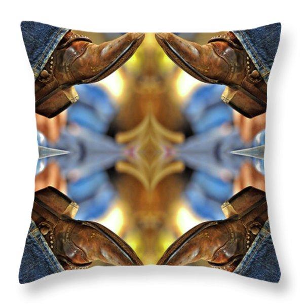 Boots Kaleidoscope Throw Pillow by Joan Carroll