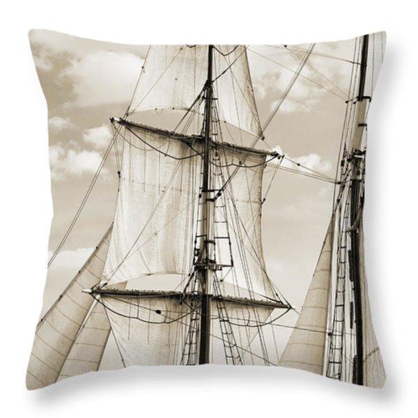 Brigantine Tallship Fritha Sails And Rigging Throw Pillow by Dustin K Ryan
