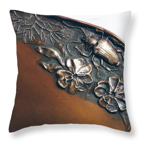Bronze Tray Detail With Beetle Throw Pillow by Dawn Senior-Trask